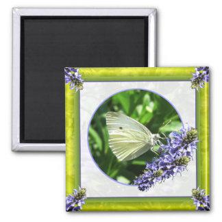 Delicate White Butterfly Garden Magnet