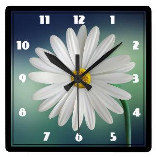 Delicate White Daisy Square Wall Clock