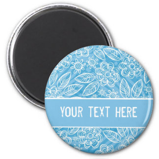 delicate white flowers on blue with your text 6 cm round magnet