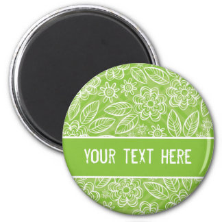 delicate white flowers on green with your text 6 cm round magnet