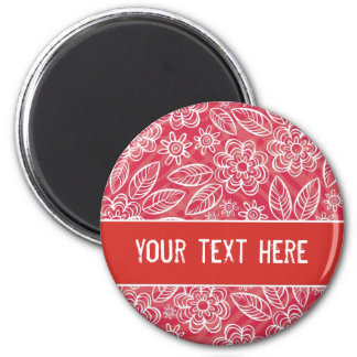 delicate white flowers on red with your text 6 cm round magnet