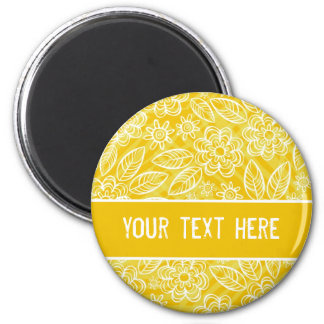delicate white flowers on yellow with your text 6 cm round magnet