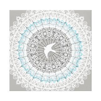 Delicate White Lace Mandala Design Canvas Print