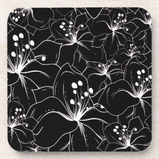 Delicate White on Black Floral Pattern Coaster