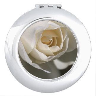 Delicate White Rose Compact Mirror