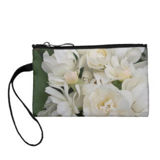 Delicate White Roses Key Coin Clutch Coin Wallets