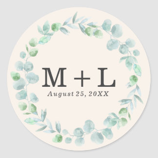 Delicate Wreath | Wedding Monogram Sticker