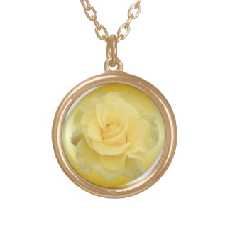 Delicate Yellow Rose #1 Gold Plated Necklace