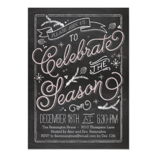 Delicately Chalked Holiday Party Invitation