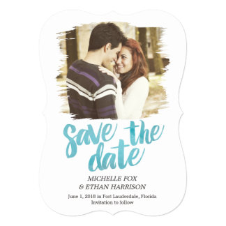 Delicately Revealed Save The Date Card Turquoise 13 Cm X 18 Cm Invitation Card
