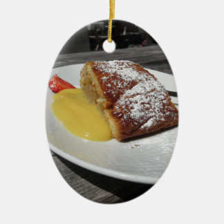 Delicious apple Strudel with vanilla cream Ceramic Ornament