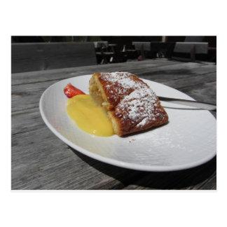 Delicious apple Strudel with vanilla cream Postcard