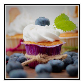Delicious Blueberry Cupcake with Whipped Cream Poster