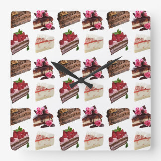 Delicious Cakes Selection Square Wall Clock