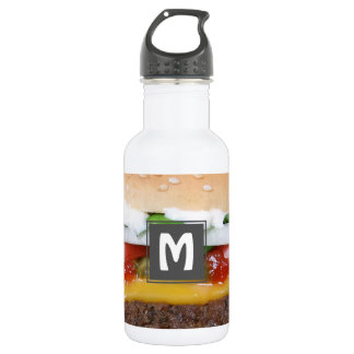 delicious cheeseburger with pickles photograph 532 ml water bottle