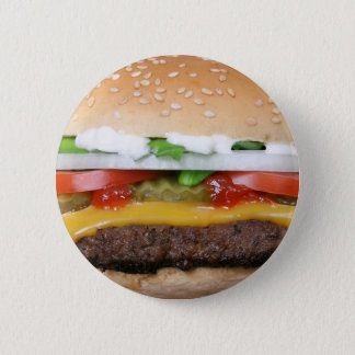 delicious cheeseburger with pickles photograph 6 cm round badge
