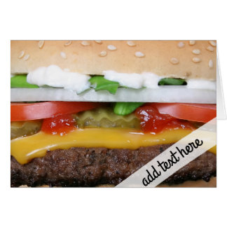 delicious cheeseburger with pickles photograph card