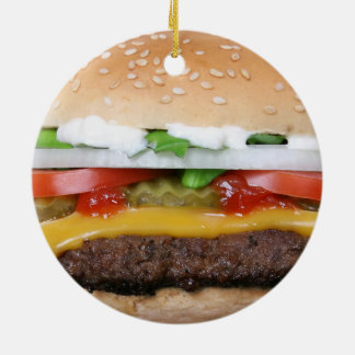 delicious cheeseburger with pickles photograph ceramic ornament