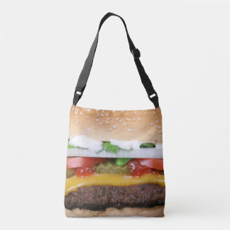 delicious cheeseburger with pickles photograph crossbody bag