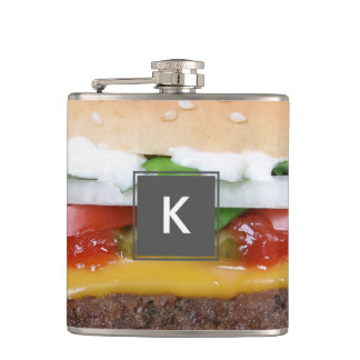 delicious cheeseburger with pickles photograph hip flask