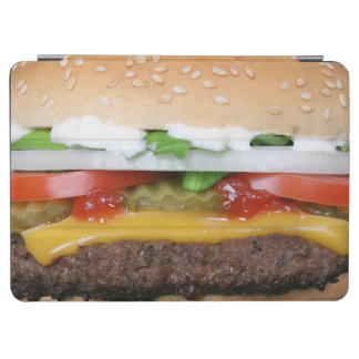 delicious cheeseburger with pickles photograph iPad air cover