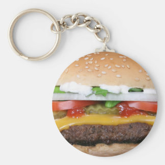 delicious cheeseburger with pickles photograph key ring