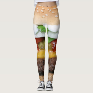 delicious cheeseburger with pickles photograph leggings