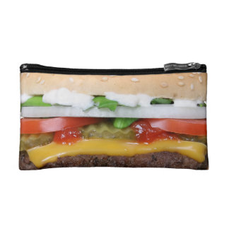 delicious cheeseburger with pickles photograph makeup bag