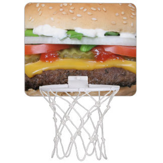 delicious cheeseburger with pickles photograph mini basketball hoop