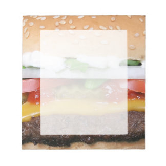 delicious cheeseburger with pickles photograph notepad