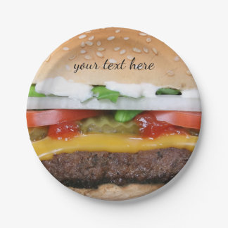 delicious cheeseburger with pickles photograph paper plate