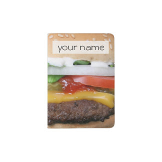 delicious cheeseburger with pickles photograph passport holder