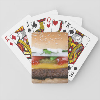 delicious cheeseburger with pickles photograph playing cards