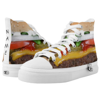 delicious cheeseburger with pickles photograph printed shoes