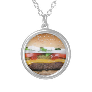 delicious cheeseburger with pickles photograph silver plated necklace