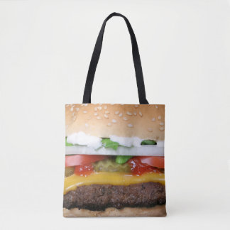 delicious cheeseburger with pickles photograph tote bag