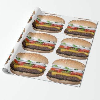 delicious cheeseburger with pickles photograph wrapping paper