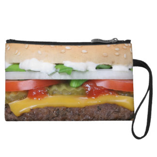 delicious cheeseburger with pickles photograph wristlet