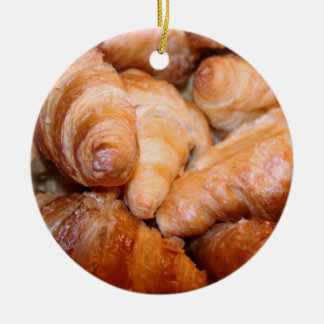 Delicious classic french croissants photograph ceramic ornament