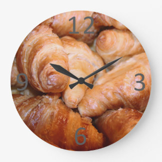 Delicious classic french croissants photograph large clock