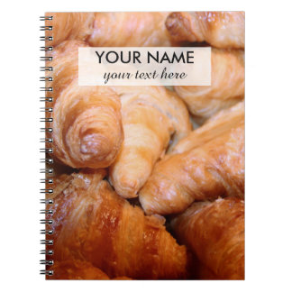 Delicious classic french croissants photograph notebook