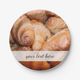 Delicious classic french croissants photograph paper plate