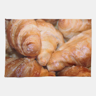 Delicious classic french croissants photograph tea towel