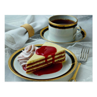 Delicious Coffee and baumkuchen torte Postcard