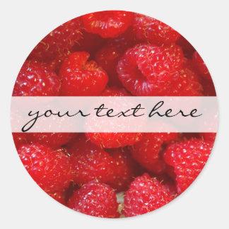 Delicious cute dark pink raspberry photograph classic round sticker