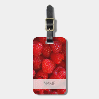 Delicious cute dark pink raspberry photograph luggage tag