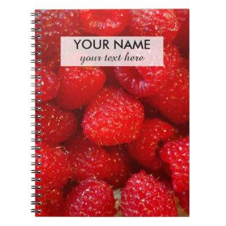 Delicious cute dark pink raspberry photograph notebook