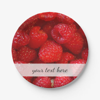 Delicious cute dark pink raspberry photograph paper plate