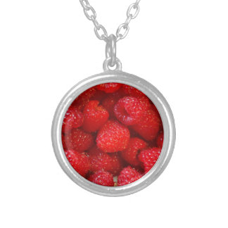 Delicious cute dark pink raspberry photograph silver plated necklace