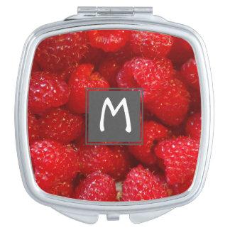 Delicious cute dark pink raspberry photograph travel mirror